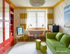 【色彩家】100м²时尚空间,蓝橙撞色活力家