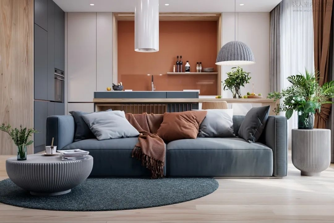 Obrys Design--摩登时尚公寓,橙蓝配色