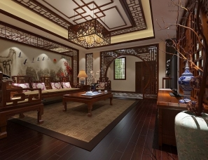 中式设计别墅效果图