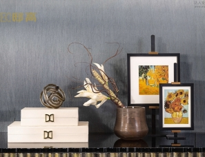 邸高家居 中式软装组合 样板房售楼处场景图