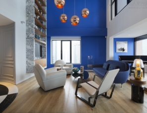 Dariel Studio设计---penthouse悬挂-静谧的蓝色顶层复式公寓