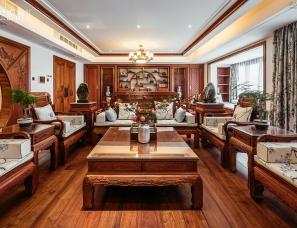 昊然设计--东莞万科虹溪诺雅702户型257㎡中式传统豪宅