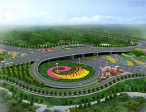 高架桥.立交桥景观绿化设计案例鸟瞰效果图