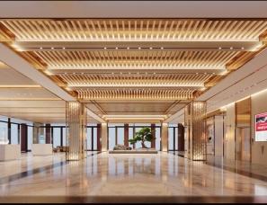 新中式酒店大堂---corona渲染