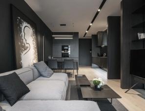 YODEZEEN--高级黑小公寓,用好隔断,能让一厅变两厅