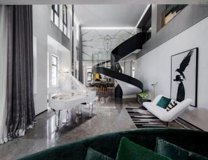 李益中空间设计--1100㎡双拼别墅,自由不羁的家