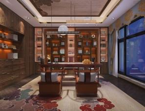 自建别墅之豪华主卧(中式风)红木家具+木制品定制