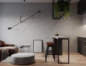 KIDZ design--42平方小公寓,卧室隔墙打掉后,满满的高级感