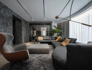 Yodezeen Architects新作--暗色调极简高端复式大宅290㎡