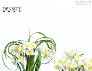 轻奢绿色仿真花装饰摆件水仙花新中式家居样板间成品花艺