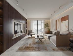 示觉设计   细腻胡桃木打造196㎡ 高级感现代住宅