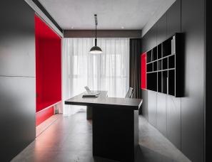 FF DESIGN费弗空间设计--骚动的红 明而暖的独居空间