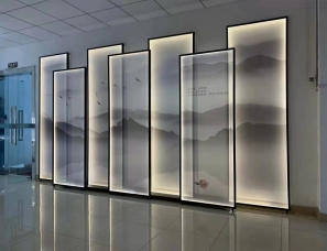 屏风 半透明屏风 带灯屏风 办公室背景隔断 大堂背景摆放