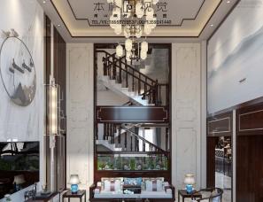 本朴视觉——中式挑空别墅客餐厅