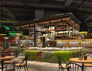 美食广场设计案例效果图