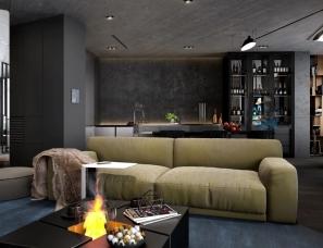33BY Architecture--96㎡ 高级黑的家, 玻璃隔断让卧室空间大一倍