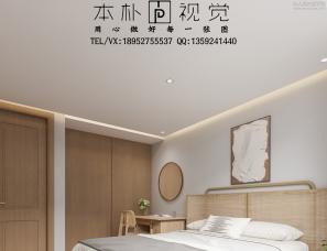 本朴视觉——现代原木色客餐厅+卧室