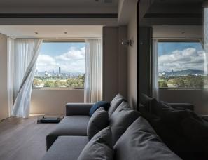 上上室內设计--鸟瞰城市天际线景观的公寓