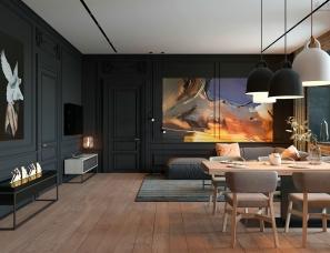 ZOOI Interior studio--135㎡暗色系暖色调公寓