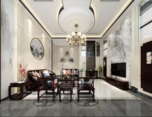 写实样板新中式别墅平层客厅餐厅茶室卧室效果图