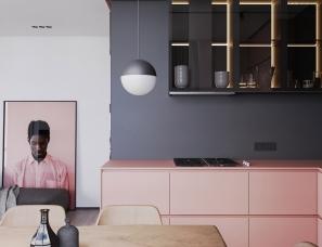 Ruslan Kovalchuk--粉色+高级灰的小户型公寓