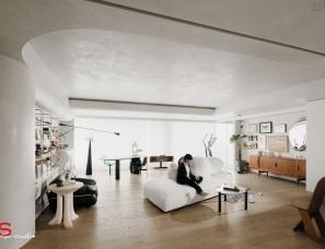 YS studio   设计师杨旭的家,干净极致的布局承载着满屋的艺术品